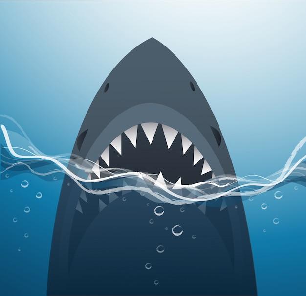 青い海の背景のサメ