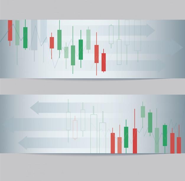 抽象的なローソク足証券取引所バナー