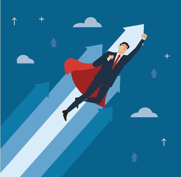赤い岬を持ったビジネスマンが成功ベクトルに飛ぶ