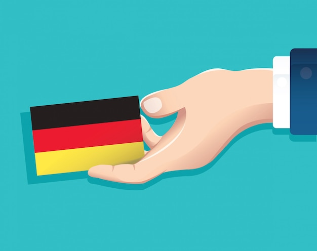 ドイツの国旗カードを持っている手