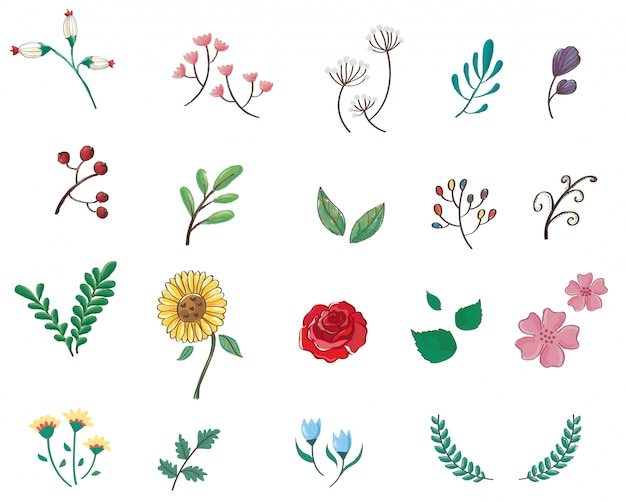 かわいいパステル調の花漫画アイコン
