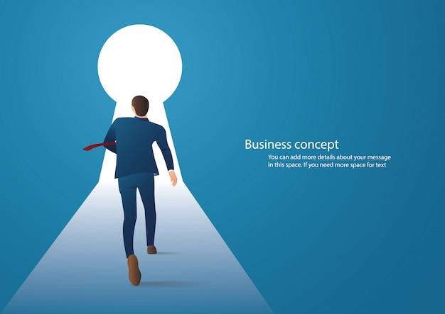 鍵穴に歩くビジネスマン