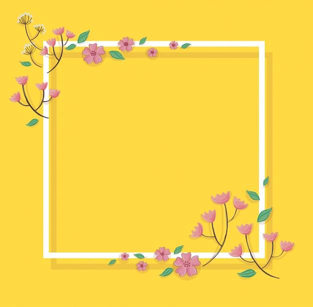 ピンクのパステル調の花と背景のベクトル