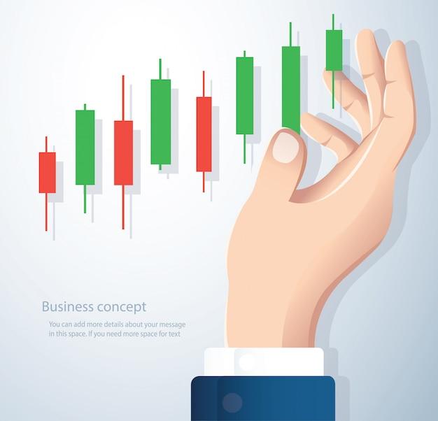ローソク足チャート株式市場のベクトルの背景を持っている手