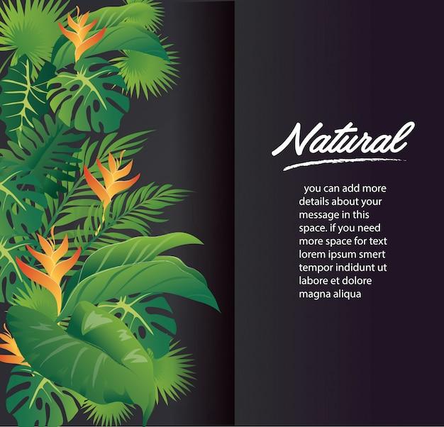 緑の葉のモダンなデザインと黒の背景