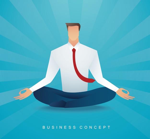 ロータスポーズ瞑想に座っている実業家