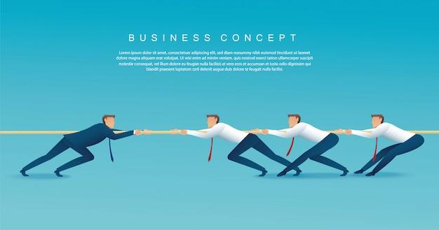 ビジネスマンはロープを引っ張ります。綱引きの概念