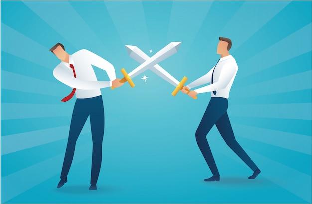 Бизнесмен борется с мечами