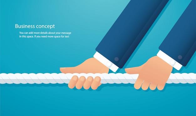 ビジネスマンはロープを引っ張ります。綱引き