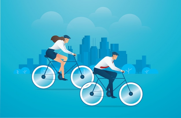 自転車公園と背景に都市を持つ人々