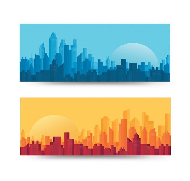 近代都市のスカイラインの背景セット