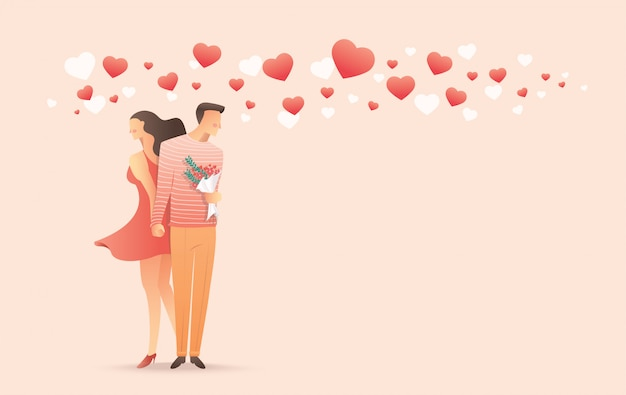 男と女のバレンタインの日に手をつないで