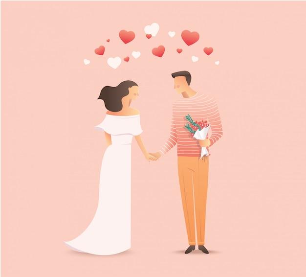 手を繋いでいる愛関係のカップル