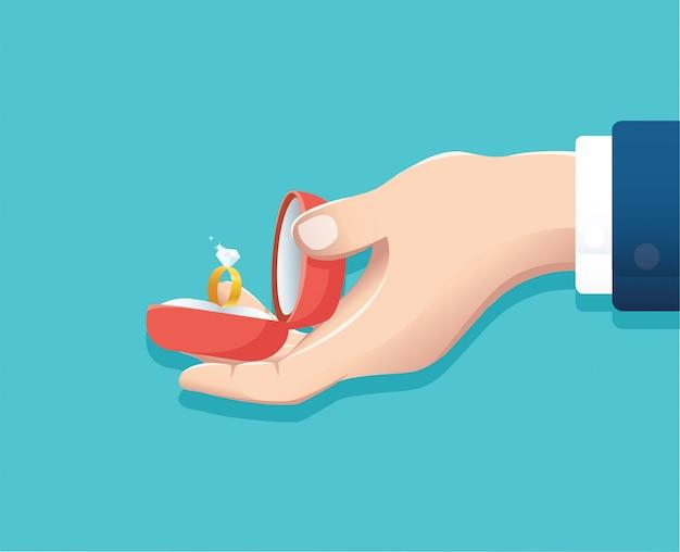 結婚指輪を提供する手