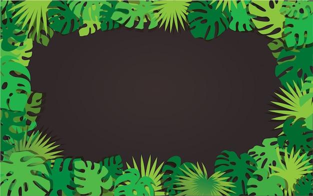 Фон рамки тропических листьев