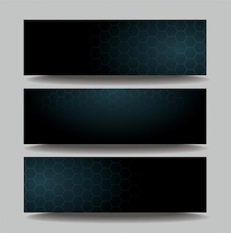 暗い六角形テンプレートバナー
