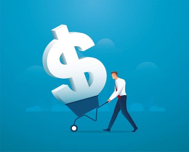 Бизнесмен толчок тележку, полную значок доллара