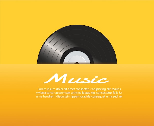 黄色の背景ベクトルを持つビニールレコード