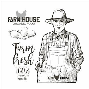 食品の箱を持ってから農民。卵。ビンテージスタイルのベクトル図です。