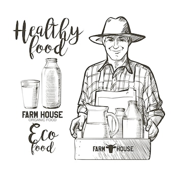 Портрет зрелого фермера с банкой и корзиной, полной бутылок с молочными продуктами