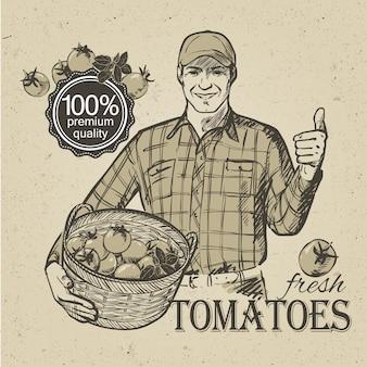新鮮な野菜のトマトとハーブがいっぱい入ったかごを運ぶキャップの農家