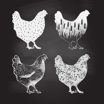 チキンのロゴ。ビンテージスタイルのベクトル図