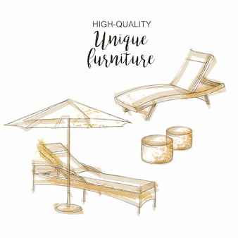 Эскиз зонта кресла для отдыха