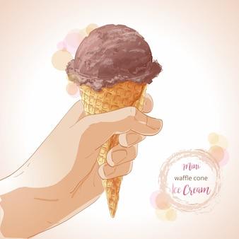 ワッフルコーンにアイスクリームを持っているベクトル手
