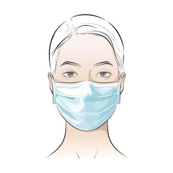 Лицо, носящее одноразовую медицинскую хирургическую маску для защиты от сильного токсического загрязнения воздуха города
