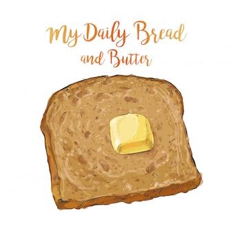Вектор черный хлеб с маслом