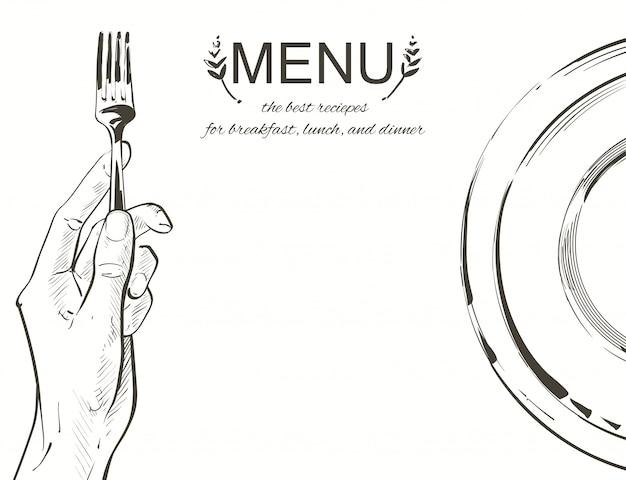 ナイフとフォークを保持しているベクトル手