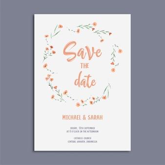 Красивая свадебная пригласительная открытка с цветочным узором