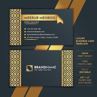 Шаблон роскошная золотая визитная карточка