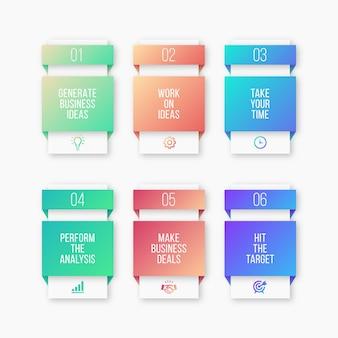 Шаг процесса, список опций бизнес инфографики