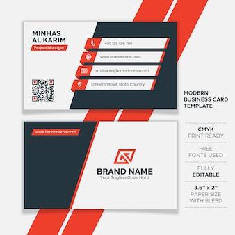 Плоский креативный шаблон визитной карточки
