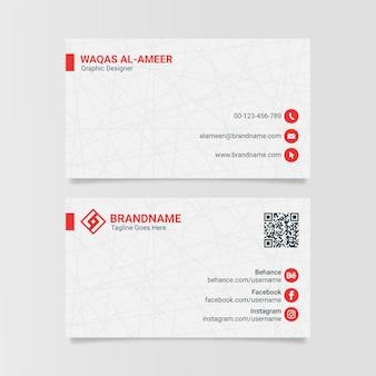 Современный чистый белый корпоративный шаблон визитной карточки