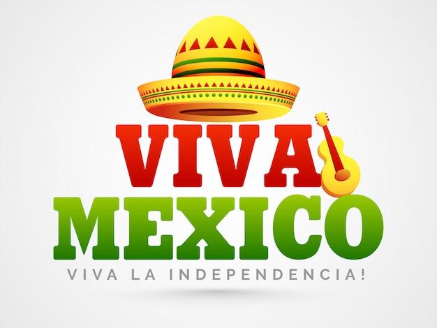 帽子とギターの光沢のあるメキシコ独立記念日
