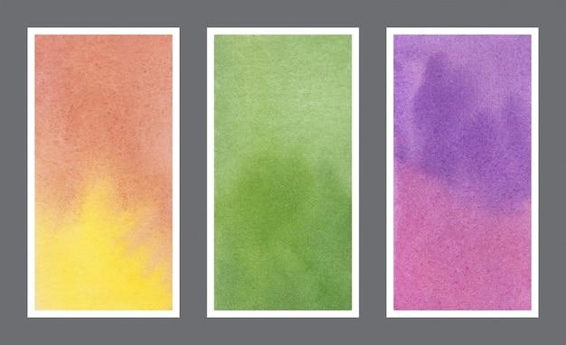 Абстрактная акварель текстуры фона веб-баннер набор