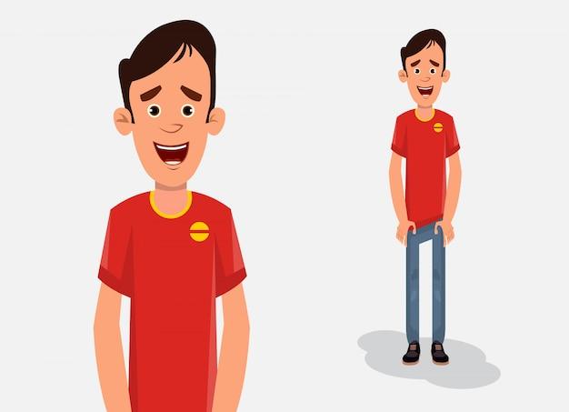 Мальчик шаржа в стоящей иллюстрации вектора представления для ваших дизайна, движения или анимации.