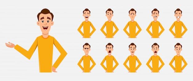 さまざまな顔の感情とリップシンクを持つカジュアルな男性キャラクター。カスタムアニメーションのキャラクター。