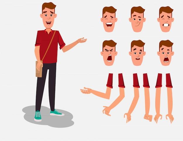 Вскользь набор символов персонажа из мультфильма молодого мальчика