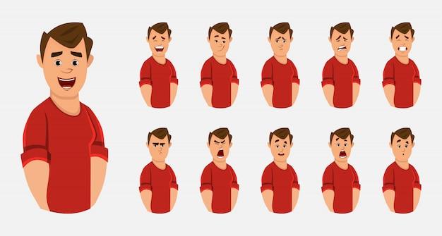 Молодой офисный работник персонаж с различным выражением лица или эмоций
