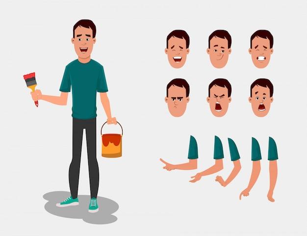さまざまな顔の感情と手によるアニメーション、デザイン、またはモーション用の画家キャラクターセット。