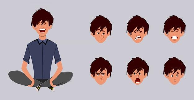 Милый мальчик персонаж делает йога или расслабиться медитации. офисный работник персонаж с другим типом выражения лица