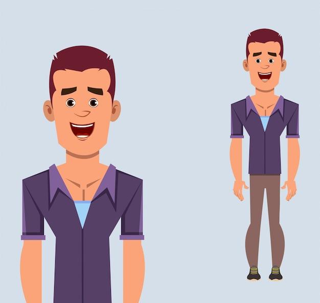 カジュアルなビジネスマン漫画キャラクター立ちポーズ、デザイン、モーションまたはアニメーションのベクトル図
