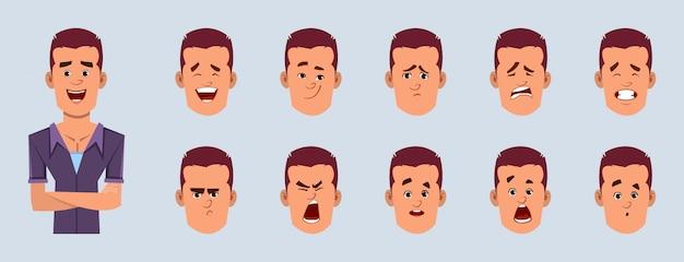 Вскользь персонаж из мультфильма бизнесмена с различным комплектом выражения лица. разные эмоции для кастомной анимации