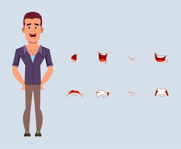 Вскользь персонаж из мультфильма бизнесмена с различным комплектом выражения лица. различные эмоции для индивидуальной анимации