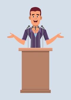 Вскользь бизнесмен спикер стоит за трибуной и говорит. плоский стиль мультфильма для вашего дизайна, движения или анимации