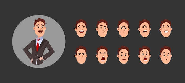 様々な顔の感情と唇の同期を持つ少年キャラクター。カスタムアニメーションのキャラクター。