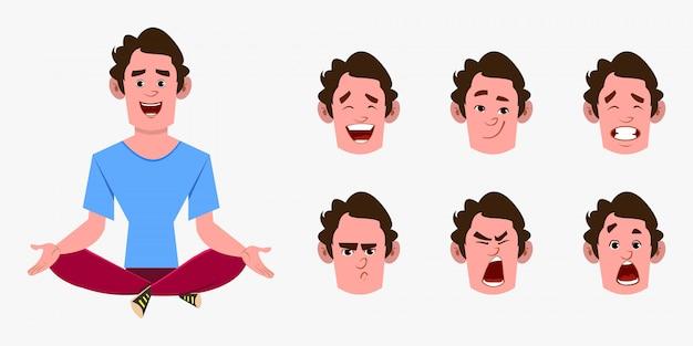 ヨガをやっているカジュアルな漫画男キャラクターや瞑想をリラックスします。